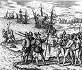 Colomb arrivant à Hispaniola
