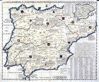 Mapa histórico y geográfico de los reinos de España y Portugal, en el Atlas historique de Henri Abraham Chatelain (1705 a 1739). Biblioteca Nacional de España.