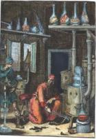 """Ein Alchimist in seinem Labor (Aus """"Pyrotechnia ofte Vuur-stook-Kunde"""", Amsterdam, 1687) Copyright Adam McLean 1997-2004 / Image tirée du site www.alchemywebsite.com"""
